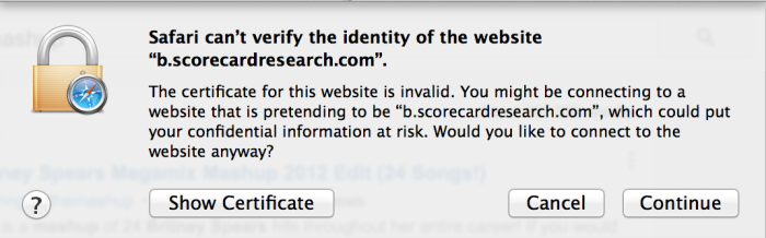 """The certificate for this website is invalid."""